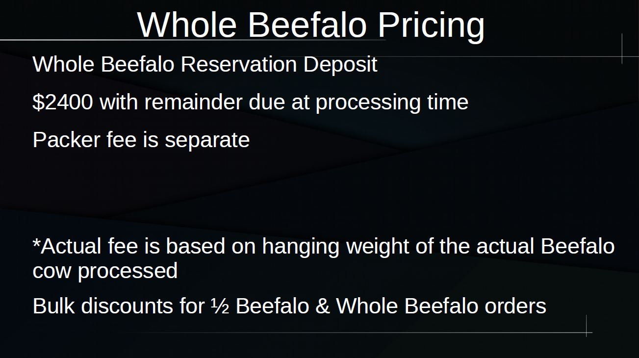Grassfed Beefalo Pricing